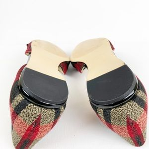 Nine West Shoes - Nine West Red/Tan Plaid Black Bow Flats Size 10